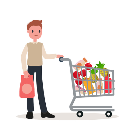A man with a shopping basket. Fat style. Vector.