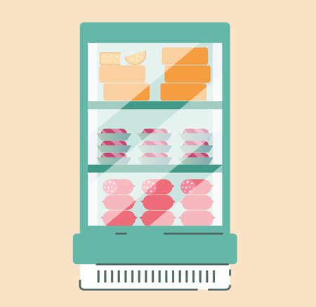 Interior of a grocery store. Showcases and refrigeration equipment with goods in the supermarket. Flat style. Vector.