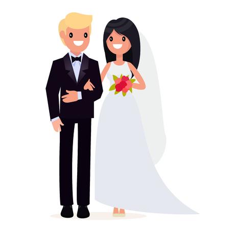 Bruid en bruidegom. Bruiloft. De stijl is plat. Vector Illustratie