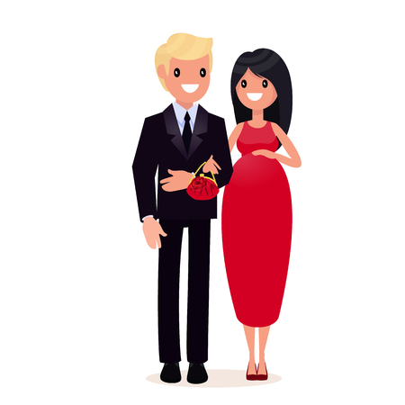 Man in suit and pregnant woman in evening dress. The style is flat.