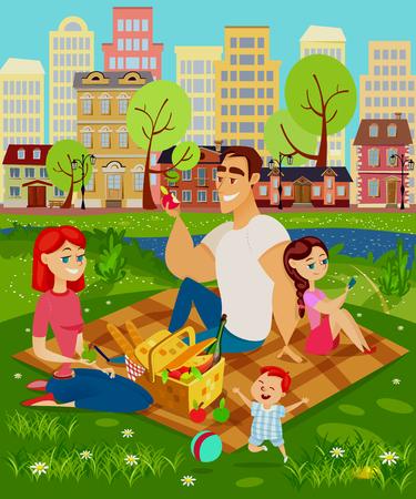 Famille en pique-nique. Maman, papa et leurs enfants sont assis sur l'herbe, il y a un panier de nourriture devant eux. Enfant jouant avec une balle. Illustration vectorielle en style cartoon.