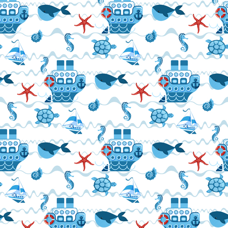 seamless pattern in childrens style with ships, sea creatures