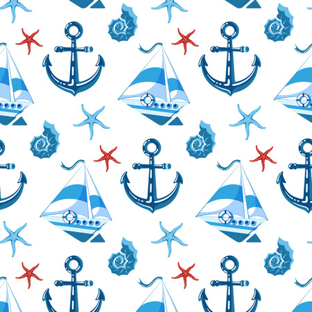 Patrón sin fisuras en estilo infantil, con barcos, ancla, concha, estrella de mar. En tonos azules. Ilustración de vector