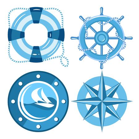 sea set of ship, sailboat, sea gear. flat style