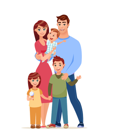 Walking happy family. Cartoon style vector illustration. Young happy parents with three children is walking  together. Иллюстрация