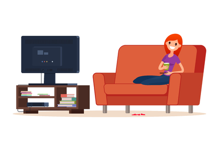 Young happy woman is watching TV.  She is sitting on the couch and watching a movie and laughing. Vector illustration. Flat style. Cartoon style