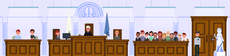 Judical court interior. The judge and the jury are sitting in the courtroom. Vector illustration in flat style. Çizim
