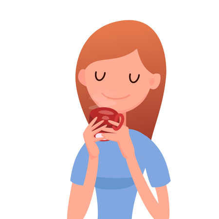 Young woman is drinking tea. Vector illustration in flat style.