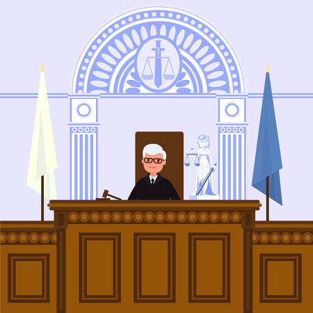 Intérieur du tribunal judiciaire. Le juge est assis dans la salle d'audience. Illustration vectorielle dans un style plat.