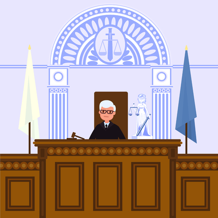 Judical court interior. The judge is sitting in the courtroom. Vector illustration in flat style.