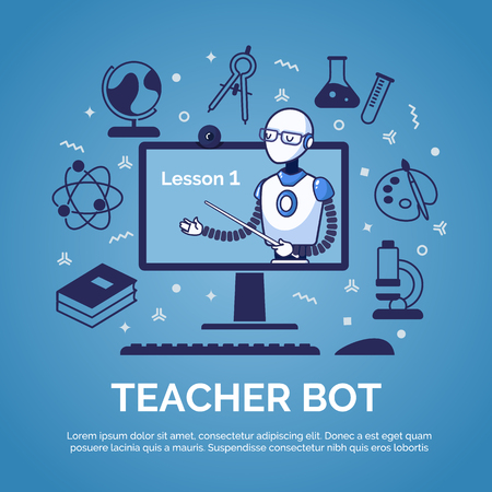 Artificial Intelligence. Teacher bot concept. Flat style vector illustration.