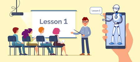 Artificial Intelligence. Teacher bot concept. Teacher lectures to students. Flat style vector illustration.