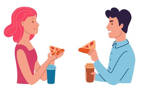 A man and a woman are smiling and eating pizza. Flat cartoon style vector illustration. Çizim