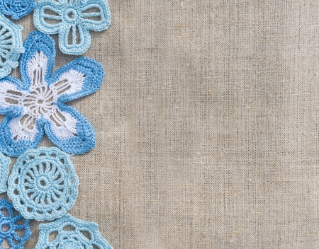 Natural background linen and handmade lace photo