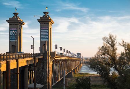the dnieper: the bridge across the dnieper river Editorial