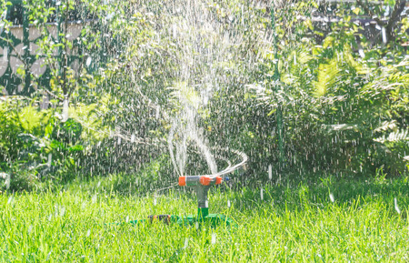 System lawn irrigation Stock Photo