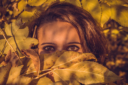 women face stare: Forest nymph with Eastern eyes Stock Photo