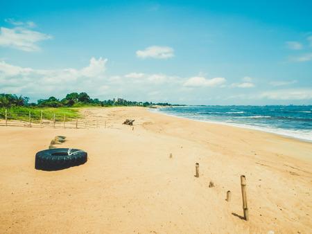 liberia: Primitive wild deserted beach on the Atlantic ocean. Monrovia the capital of Liberia, West Africa Stock Photo