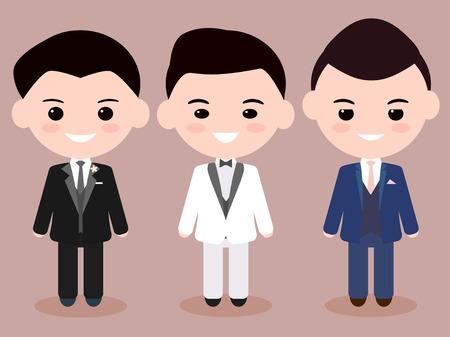Different Three Cartoon Bridegroom
