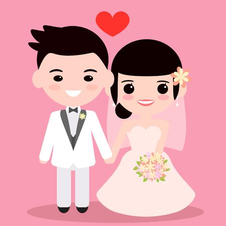 Bride and groom marry 矢量图像
