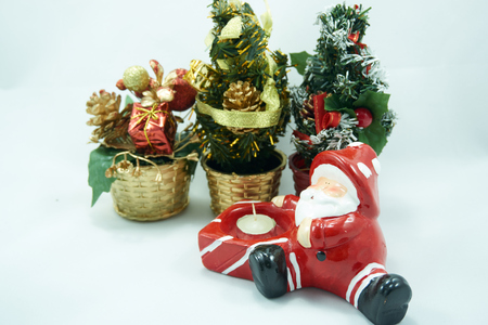 christmas toy: Santa Claus with christmas tree decorate with gift box and toy Stock Photo