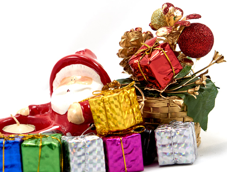 enrich: Decoration santa claus with gift box and christmas tree