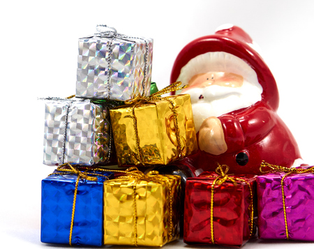 enrich: Decoration santa claus with colorful gift box