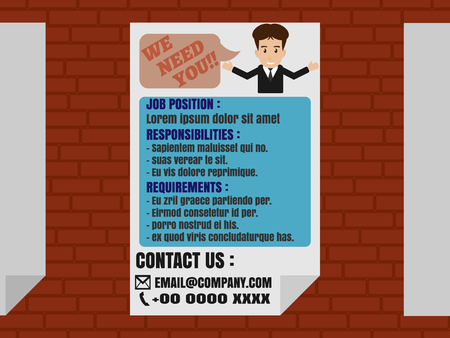 finder: Job finder advertisement on poster stick on brick wall