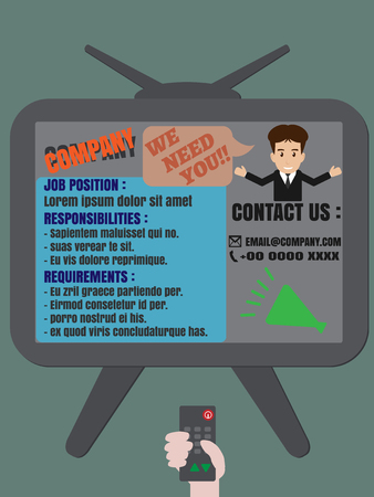 advertisement: Job finder advertisement display on TV vector Illustration