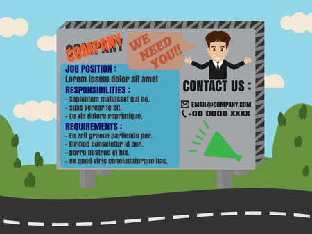 advertisement: Job Finder Advertisement on Billboard with road mountain and sky in background Illustration