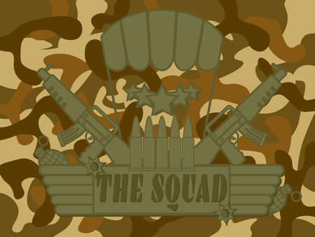 squad: icon for military army create with the squad label rifle gun grenade bomb bullet parachute star and camouflage pattern in background Illustration
