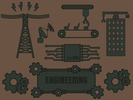 civil engineers: Engineering icon template with various section of engineer Illustration