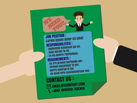 Buscador de empleo Publicidad en el folleto Folleto de distribuir manualmente
