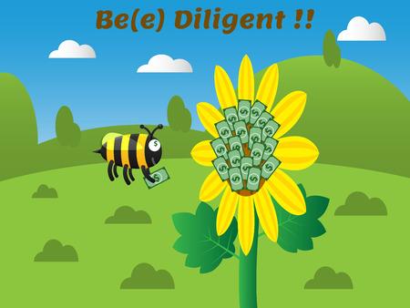 recoger: abeja diligente recoger dinero en efectivo de la flor con la montaña, el cielo y las nubes en el fondo