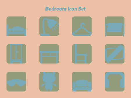 bolster: Bedroom icon set with various objects in bedroom