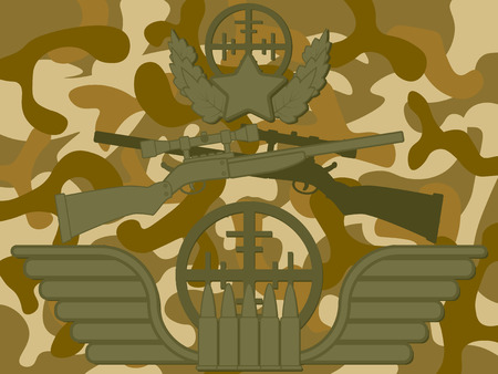 sharpshooter: Military Sniper Rifle with star and leaves on top bullet and target at bottom and camouflage pattern in background Illustration