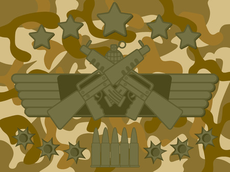 rifleman: Military Rifle with star on top bullet at bottom and camouflage pattern in background