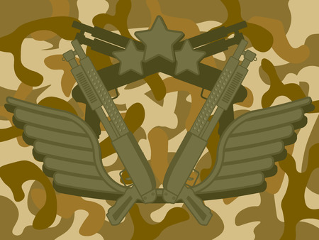 gunman: Military Shotgun with star on top and camouflage pattern in background Illustration