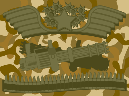 top gun: Military Machine gun with star on top bullet at bottom and camouflage pattern in background