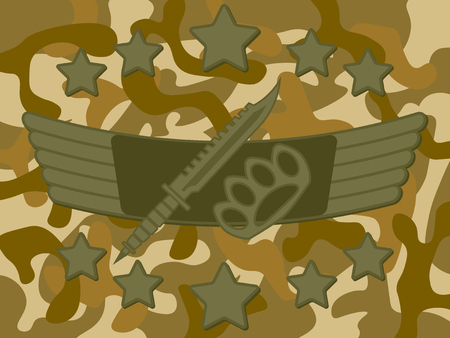 knuckle: Military combat knife and knuckle with star on top and bottom and camouflage pattern in background Illustration