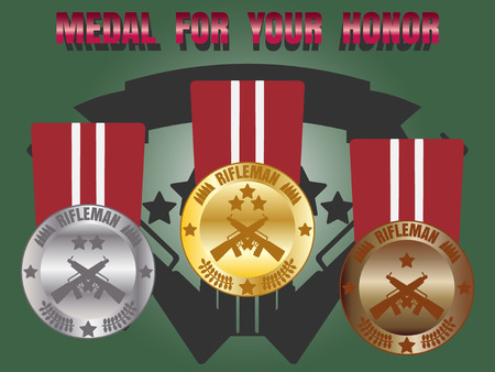 honor: Medal skill honor rifleman badge set with three level medal gold silver bronze