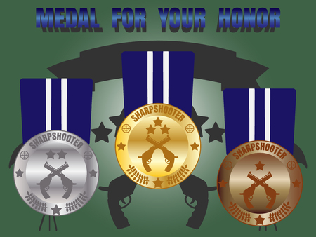 sharpshooter: Medal skill honor sharpshooter badge set with three level medal gold silver bronze Illustration