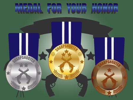 marksman: Medal skill honor sharpshooter badge set with three level medal gold silver bronze Illustration