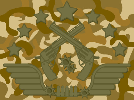 Military Pistol Shooter with star on top bullet at bottom and camouflage pattern in background Illustration