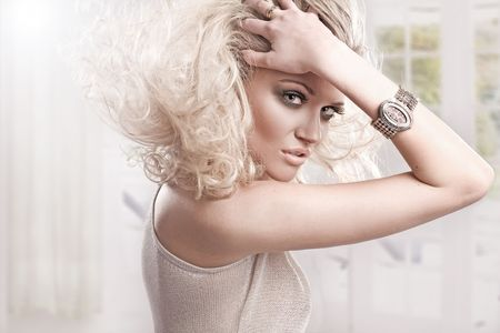 Beautiful fresh blond girl, perfect skin and hair Stock Photo - 5899691