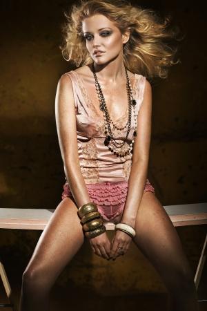 Studio shot of a young, beautiful blonde, fashionable woman Stock Photo - 5899682