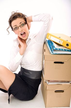 simultaneously: Attractive overworked secretary