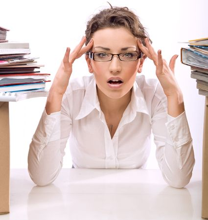 simultaneously: Young businesswoman in stress Stock Photo