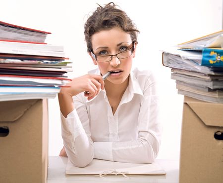 Worried secretary Stock Photo - 5970093