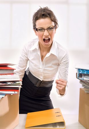 Businesswoman screaming Stock Photo - 5970090